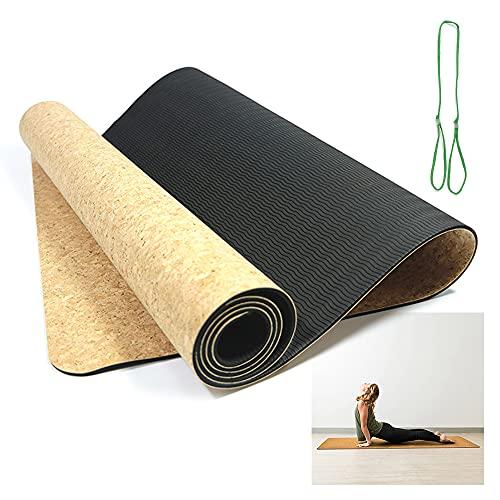WPC Brands Soporte para esterilla de yoga, esterilla de corcho natural de corcho antideslizante, alfombrilla de viaje, esterilla de yoga (color como se muestra)