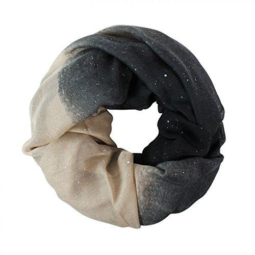 Glamexx24 Neue Kollektion Damen schal leichter Langschal Loop Schlauchschal Tuch Viele Farben, Schwarz/Grau/Beige, Einheitsgröße