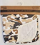 Chick Pea Muslin 42 inch x 42 inch Soft and Cozy Stroller Blanket -100 Cotton Muslin -100 Polyester Fill Camo Design, Tan Camoflage, 100364