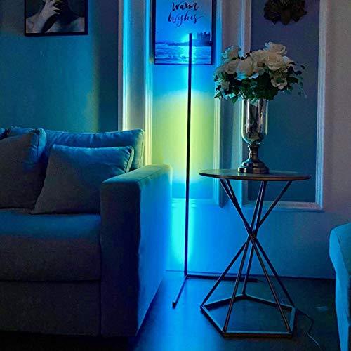 Luz de esquina de pie que cambia de color RGB de 20 W, lámpara de pie LED regulable inteligente para sala de estar y dormitorio con control remoto, estante de trípode de aleación de aluminio de 55 '