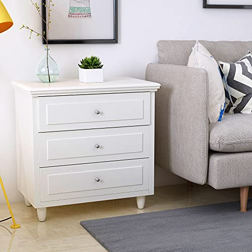 MOOSENG 3-Drawer Storage Nightstand Bedside Cabinet Furniture Fully Assembled Accent End Side Table Chest, Perfect for Home, Bedroom Living Room Accessories, Dresser, White
