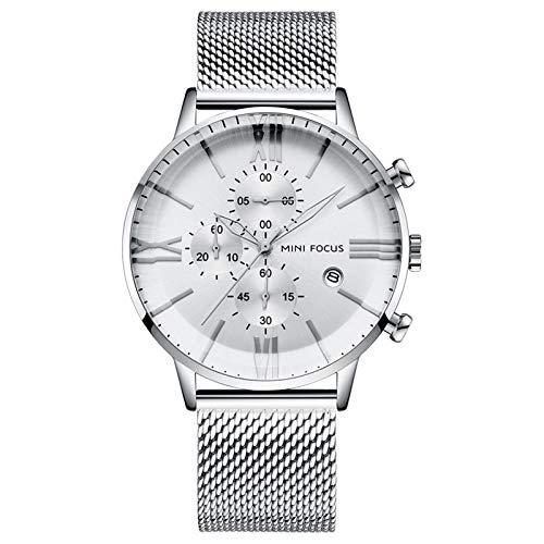 JTTM Relojes para Hombres,Impermeable Cronógrafo Correa De Acero Inoxidable Analógico De Cuarzo Relojes De Pulsera,Blanco