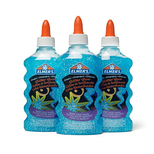 Elmer's Liquid Glitter Glue, Washable, Blue, 6 Ounces, 3 Count - Great for Making Slime