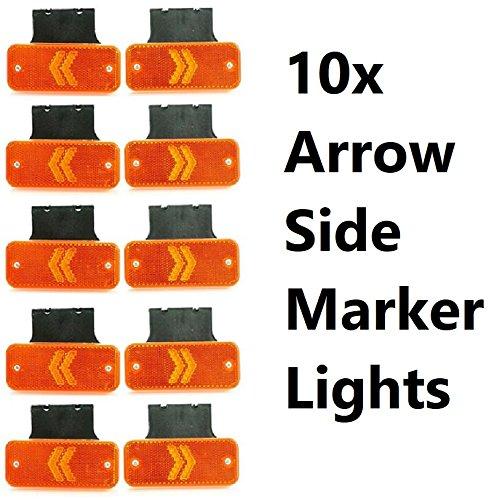 Lot de 10 flèches de 12 V 24 V Orange Ambre LED Feux de gabarit latéraux Flèche Réflecteur intégré + Supports en caoutchouc IP68 pour camion, benne benne, caravane, châssis remorque, camping-car, bus