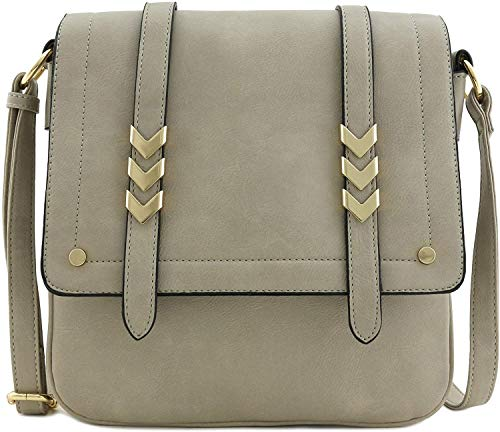 ALYSSA Double Compartment Large Flapover Crossbody Bag, Light Grey, Size One Size