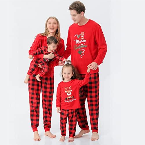 Pigiama della famiglia corrispondente Set di pigiami di Natale Sleepwear Xmas PJs con cervi manica lunga e pantaloni a plaid for le donne delle donne ragazze ragazze neonato ( Size : Women (Mom) L )