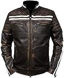 Price Right Chaqueta de cuero Cafe Racer para hombre, chaqueta de piel envejecida para hombre, chaqueta de motocicleta vintage