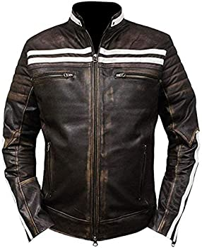 Price Right Cafe Racer Veste en cuir Hommes   Veste en cuir vieilli Hommes   Veste de moto vintage   Mens Cafe Racer Jacket   Veste de moto rétro - Marron - L