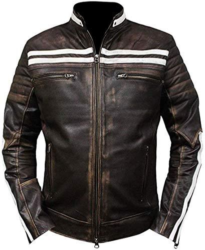 Price Right Cafe Racer - Chaqueta de piel para hombre, chaqueta de piel envejecida, chaqueta de moto vintage