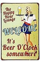 ブリキ メタル プレート サイン 2枚 Tign Sign Happy Hour Welcome It 's Beer O' clock Somewhere Vintage Retro Rustic Metal Tin Sign Pub Wall Deor Art Hanging Artwork Plaques WallArt Decorative Vintage Signs Gift 8 in X 12 in(20cm X 30cm)