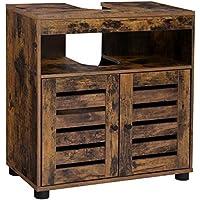 VASAGLE Mueble de Lavabo, Mueble de Baño, Armario de Almacenamiento, 60 x 30 x 63 cm, con 2 Puertas de Persiana, Tablero Ajustable, Marrón Rústico BBK04BX