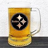 Pittsburgh Steelers Glass Beer Stein - Gift For Him - American Football Gifts - Beer Mug Glass - Groomsmen Gift - Gift Ideas For Men - Gift For Daddy - NFL Sport Mug