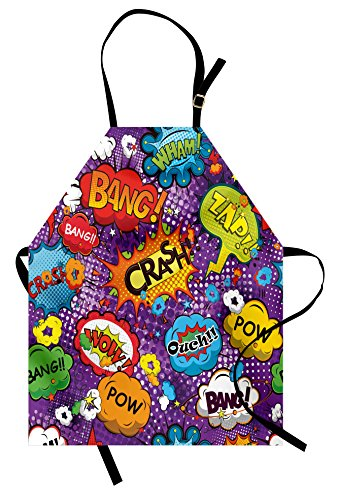 Lunarable Retro Apron, Comic Book Style Speech Bubbles Effects Humorous Fun Pop Art Contemporary Design, Unisex Kitchen Bib with Adjustable Neck for Cooking Gardening, Adult Size, Purple Orange