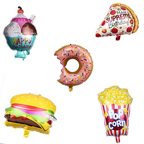 Folienballons Süßigkeiten Essen,Großer Ballons, 6 Stile, Donut Ballons, Eis Ballons, Pizza, Popcorn, Hamburger, Hot Dog Ballons, Geburtstagsfeier Dekorations,Konditorei-aufblasbare Ballons