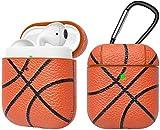 Eutekcoo Airpods Hülle,AirPods Hülle Stoßfeste Schutzhülle für Airpods 1 und 2[LED an der Frontseite Sichtbar][Unterstützt kabelloses Laden] PU Leder Skin und PC Plastic Inner mit Karabiner[Basketball]