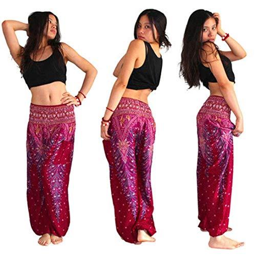 Adelina Dames Thai Baggy broek yoga elastisch harembroek fitness pilates sport modieuze completi training dansen ademend broekje leggings lange stretch broek sportkleding