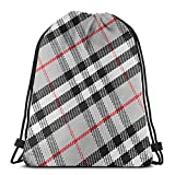 N / A Tartan Drawstring Bag Mochila Gym Dance Bag Mochila para Senderismo Bolsas de Viaje de Playa 36 x 43 cm / 14.2 x 16.9 Pulgadas