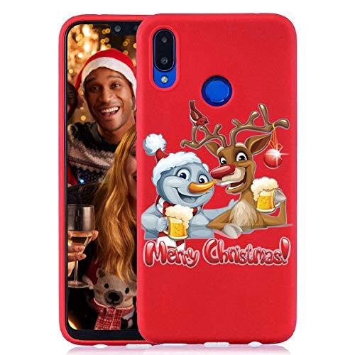Yoedge Funda para Huawei Honor 8X, Cárcasa Silicona Rojo Navidad con Dibujos Nieve Ciervo de Diseño Antigolpes...