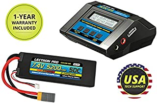 Lectron Pro 7.4V (2S) 5200mAh 50C LiPo Battery & ACDC-10A Charger Starter Pack