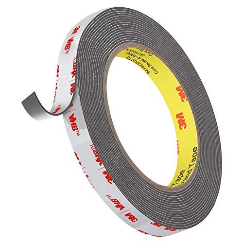 3M Hochleistungs-Doppelseitenband, Roseberry VHB-Band 4,8 m Länge , 1,1 mm Dicke, 12,7 mm Breite, wasserdichtes Montageband für Auto, Wohnkultur, Bürodekor