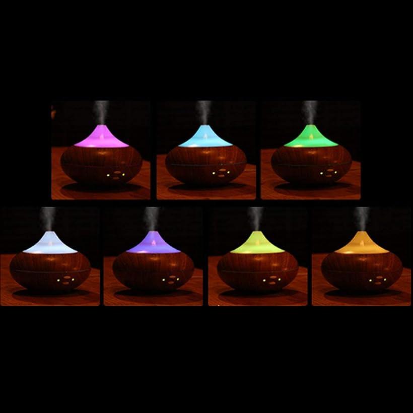 ウッドカラーled超音波サウンドスマートアロマディフューザーエッセンシャルオイルエアディフューザー加湿器アロマミスト用ホームオフィス(ウッドカラー)