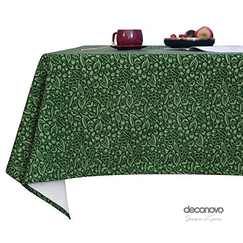 Deconovo Mantel Cocina Decorativo Mesa Rectangular Festival de Navidad para Fiesta 140 x 240 cm Verde Oscuro