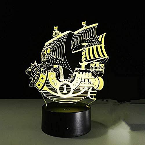 Nachtlicht Boot-förmiges Nachtlicht der Karikatur 3D 7, welches die Spielzeuggeschenk-Notenfernbedienung der dekorativen Lichterkinder ändert