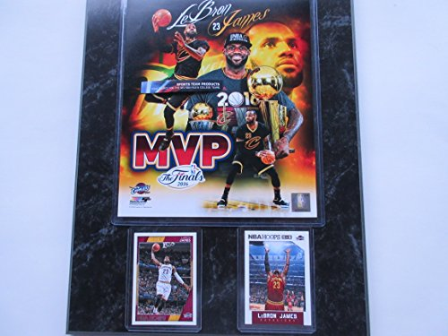 LeBRON JAMES CLEVLAND CAVALIERS NBA MVP PHOTO & 2 CARDS MOUNTED ON A '12 X 15' BLACK MARBLE PLAQUE