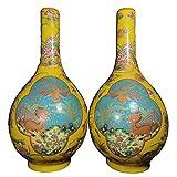 LAOJUNLU Un par de tarros de unicornio y fénix con esmalte y ventanas doradas fabricadas en el período Kangxi de la dinastía Qing antigua colección de joyas de estilo tradicional chino solitario