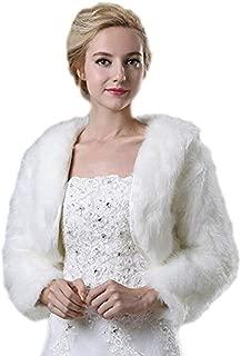 Women's Faux Fur Bridal Jacket Shrug Bolero Wedding Dress Wrap for Winter
