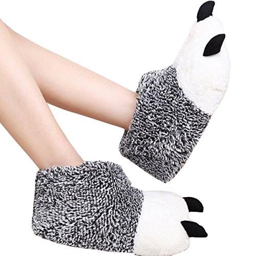 pantofole uomo orso ZUMUii Butterme Unisex Polar Bear Paw Pantofole Inverno Caldo Stivali Peluche Casa Scarpe Furry Animal Paw House Pantofole(Grigio