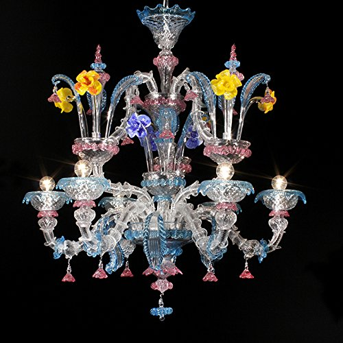 Kronleuchter Murano DUCALE 6 Lichter - Kristall, Aquamarin Rubin, mehrfarbig