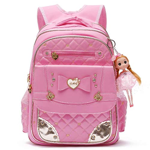 Waterproof PU Leather Kids Backpack Cute Princess School Bookbag for Primary Girls (Large, Pink)
