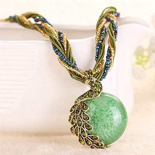 NC188 Collares Pendientes de Piedra para Mujer Boho Pavo Real Diamante de imitación Envuelto Cuentas de Piedra Natural Collares Pendientes Verdes con Cadena de Cuerda Adornos navideños Regalo para