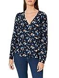 Springfield Blusa Estampada Frunces Hombro Camisa, Azul Medio, 42 para Mujer