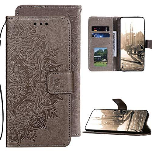 Kompatibel mit Samsung Galaxy A21S Hülle PU Leder Tasche Brieftasche Flip Handyhülle,QPOLLY Totem Blumen Muster Magnetisch Klapphülle Schutzhülle mit Standfunktion für Galaxy A21S,Grau