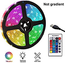 Gluckluz LED Light Strip 2M USB RGB Waterproof Decoration Lighting with Remote Control for Bedroom Kitchen Hotel Home TV Back (Color Changing)