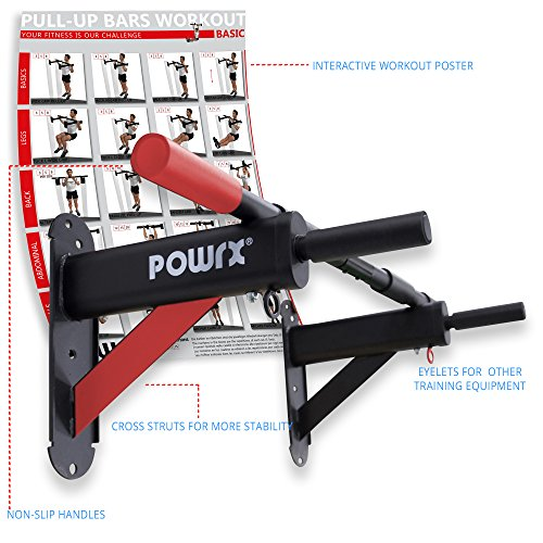 POWRX - Barra dominada pared 3 in 1 - Pull up bar con empuñaduras antideslizantes - 2 Ojales + PDF workout - 98 x 44 cm (Negro)