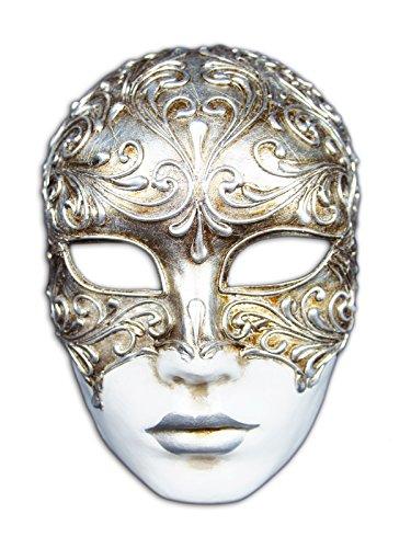 Magic of Venezia Venezianische Vollmaske Volto Mystery für Männer und Frauen (Silber)