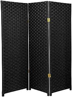 Oriental Furniture 4 ft. Tall Woven Fiber Room Divider - Black - 3 Panel