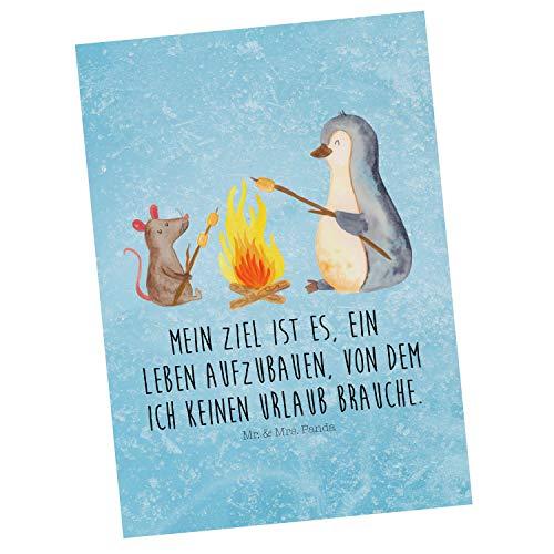 Mr. & Mrs. Panda Grußkarte, Einladung, Postkarte Pinguin Lagerfeuer mit Spruch - Farbe Eisblau