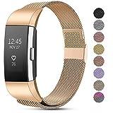 Funbiz Correas Compatible con Fitbit Charge 2 Correa, Pulsera de Repuesto de Acero Inoxidable de Malla Metálica Ajustable para Fitbit Charge 2, Grande Oro Rosa