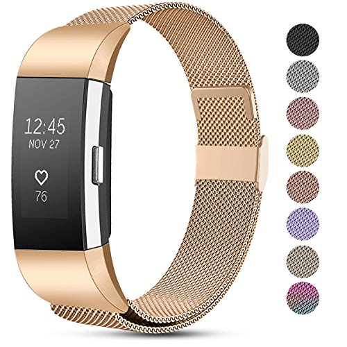 Funbiz Armband Kompatible mit Fitbit Charge 2 Armband, Einstellbare Metall Mesh Edelstahl Ersatzband Kompatible mit Fitbit Charge 2, Klein Or Rose