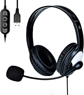 FLYEER USB Computer Headset, Lightweight PC Headset with Microphone Noise Cancelling, Wired Headphones Business Headset for Skype Webinar Cell Phone Call Center, Clear Chat, Ultra Comfort (Black)