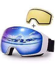 Avoalre OTG Skidglasögon Skyddsmask för Vuxna Skidmask Kvinnor Och Män Ski Snowboard Snow Mask Anti-UV Lämplig för Utomhusglasögon Bike Motorcykel Cross