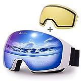 Avoalre Gafas de esquí Gafas de esquí antiniebla para Snowboard para Hombre Gafas de protección UV 100% para Mujeres con Lentes esféricas Intercambiables Intercambiables (Azul)