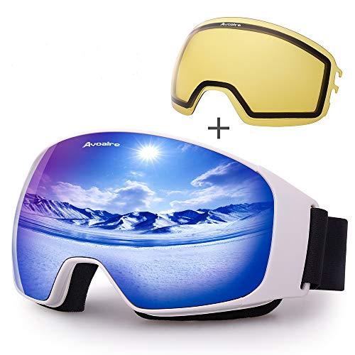 Avoalre Skibrille Anti Fog Snowboardbrille Herren - Ski Snowboard Brille für Brillenträger Schutzbrillen, 100{b6852728d9ba0c38e3866fb008801f22462f952d623e312eb14abd7d6bce5089} OTG Anti-Fog 400 UV-Schutz Schneebrille Snowboard Ski Goggles