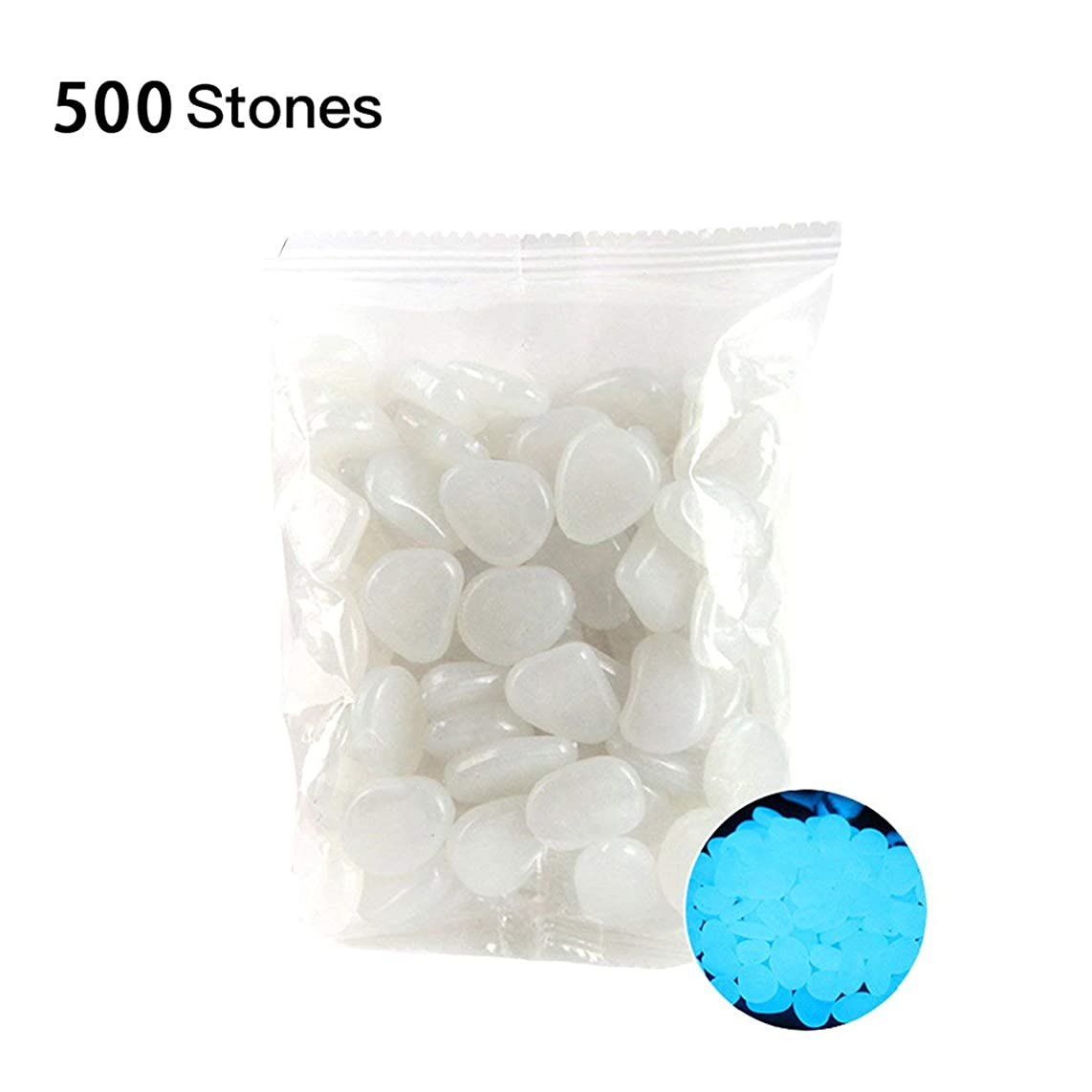 Susanda Garden Pebbles Glow Stones Rocks for Walkways Garden Path Patio Lawn Garden Yard Decor Luminous stonesWhite500pcs