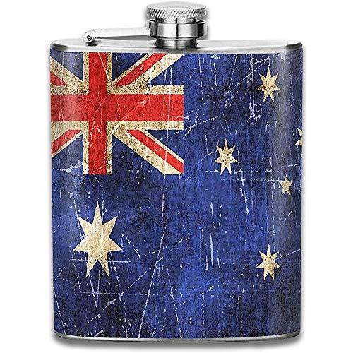 Vintage gealterte und zerkratzte australische Flagge Edelstahlflasche Klassische Flasche Whisky Wodka Alkohol Hüftflasche