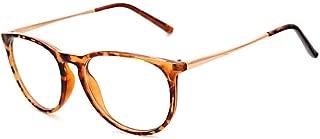 Inlefen Ultra-light glasses myopia leopard glasses round frame flat mirror